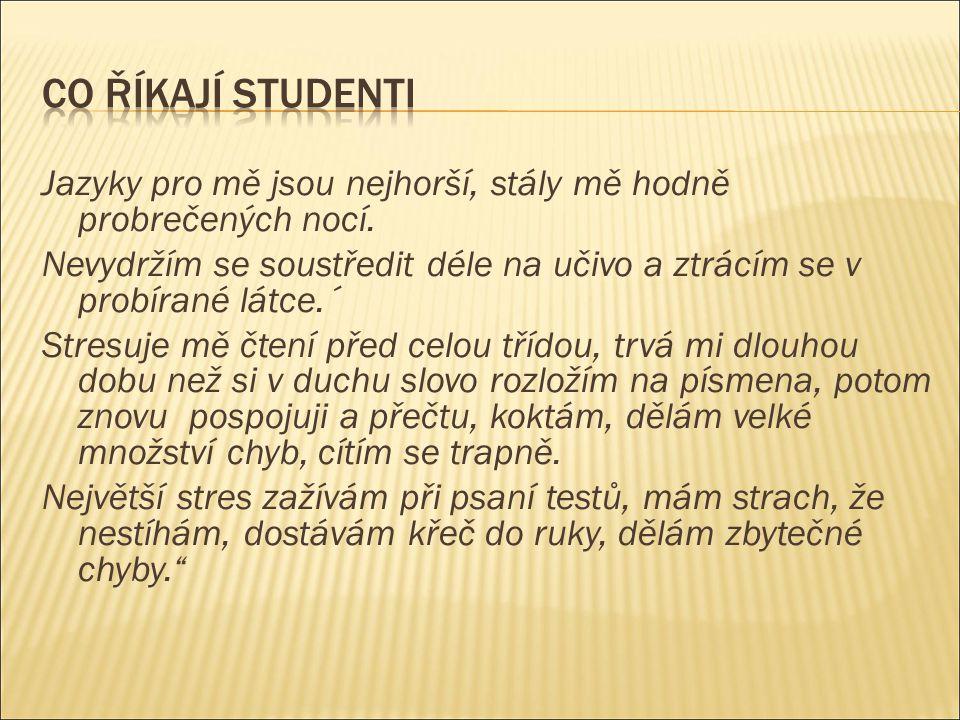 Co říkají studenti Jazyky pro mě jsou nejhorší, stály mě hodně probrečených nocí.