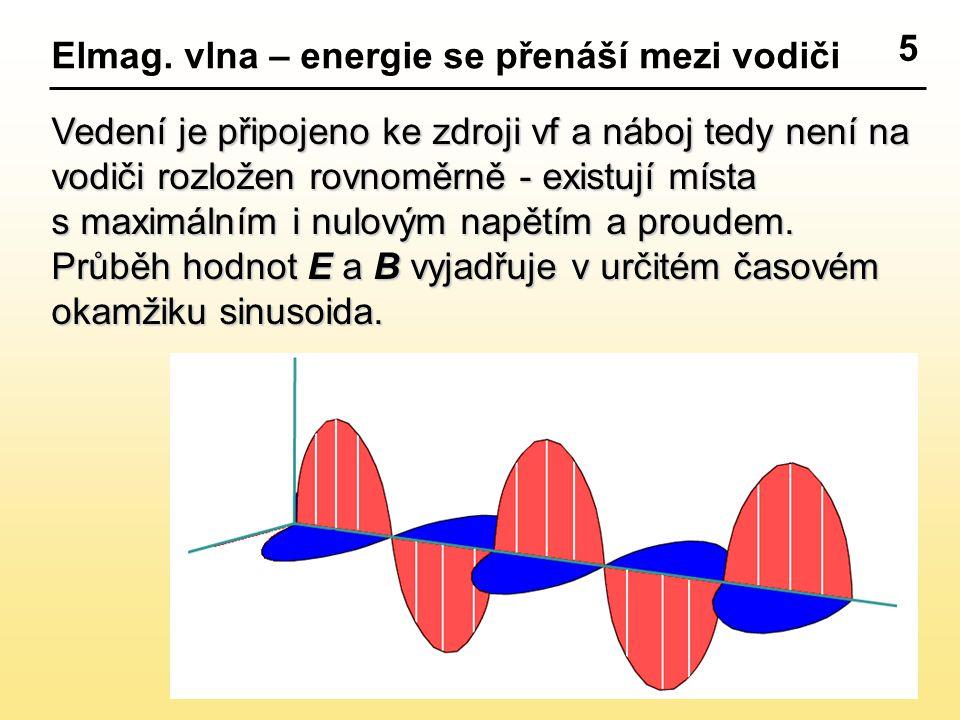 5 Elmag. vlna – energie se přenáší mezi vodiči. Vedení je připojeno ke zdroji vf a náboj tedy není na.