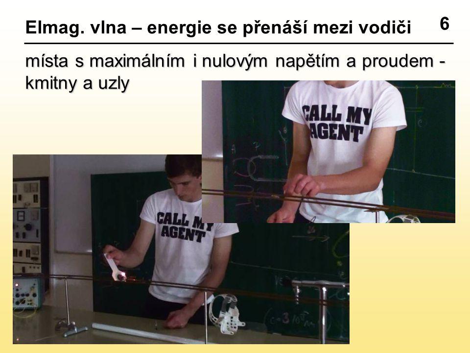 6 Elmag. vlna – energie se přenáší mezi vodiči.
