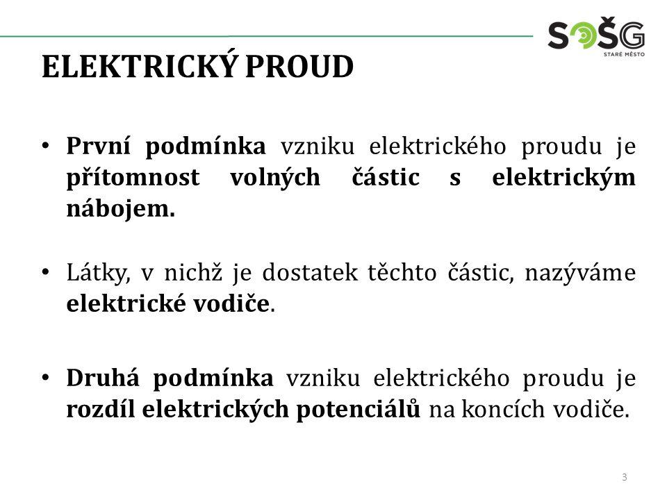 ELEKTRICKÝ PROUD První podmínka vzniku elektrického proudu je přítomnost volných částic s elektrickým nábojem.