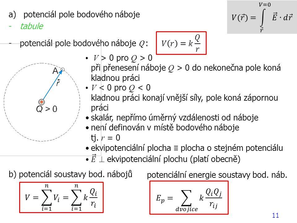 𝑉( 𝑟 )= 𝑟 𝑉=0 𝐸 ∙𝑑 𝑟 potenciál pole bodového náboje. tabule. potenciál pole bodového náboje Q :
