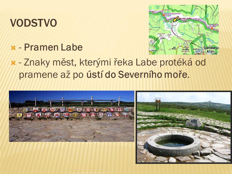 Vodstvo - Pramen Labe. - Znaky měst, kterými řeka Labe protéká od pramene až po ústí do Severního moře.