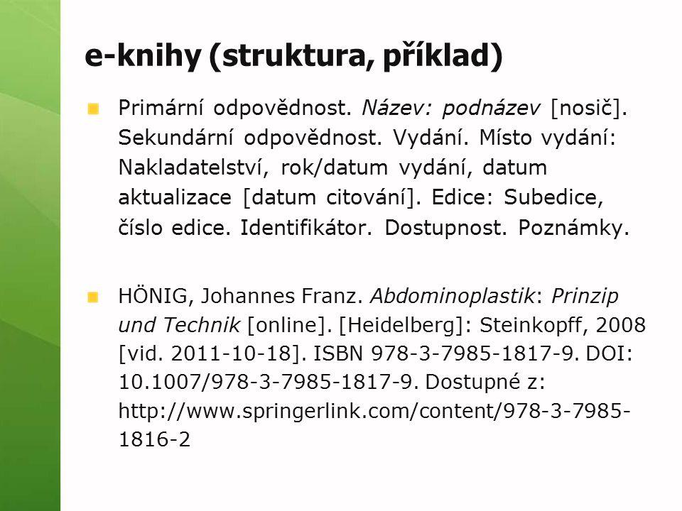 e-knihy (struktura, příklad)