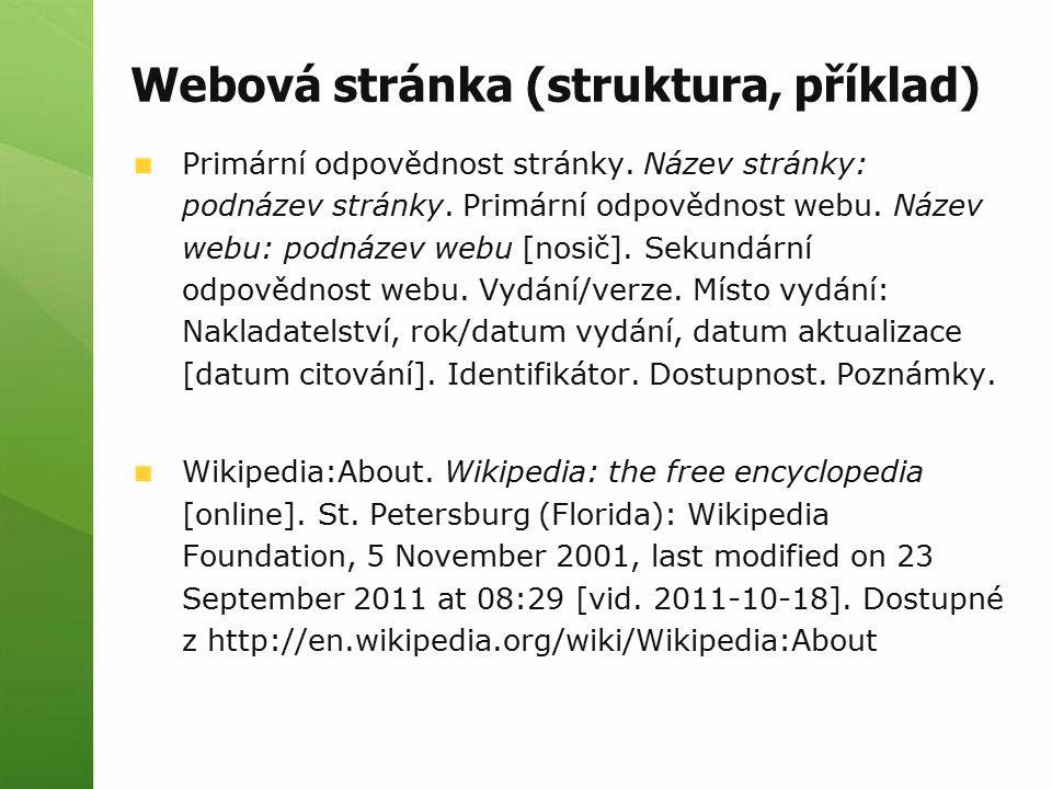Webová stránka (struktura, příklad)