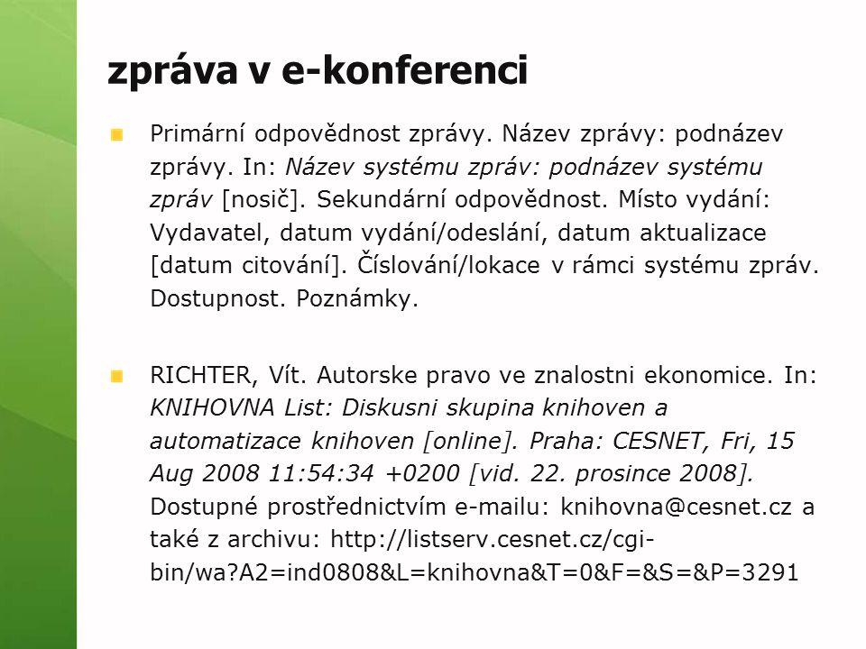 zpráva v e-konferenci