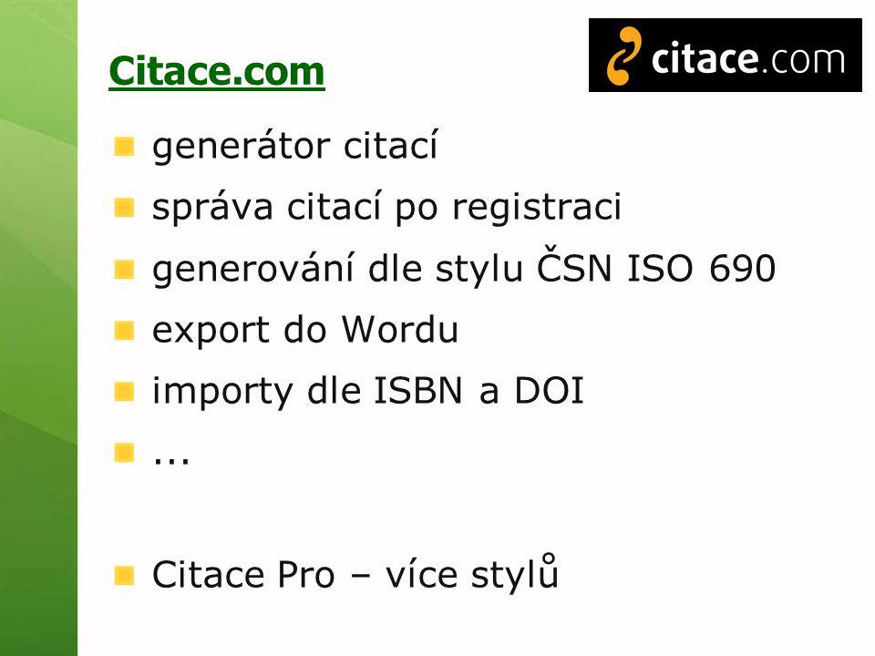Citace.com generátor citací správa citací po registraci