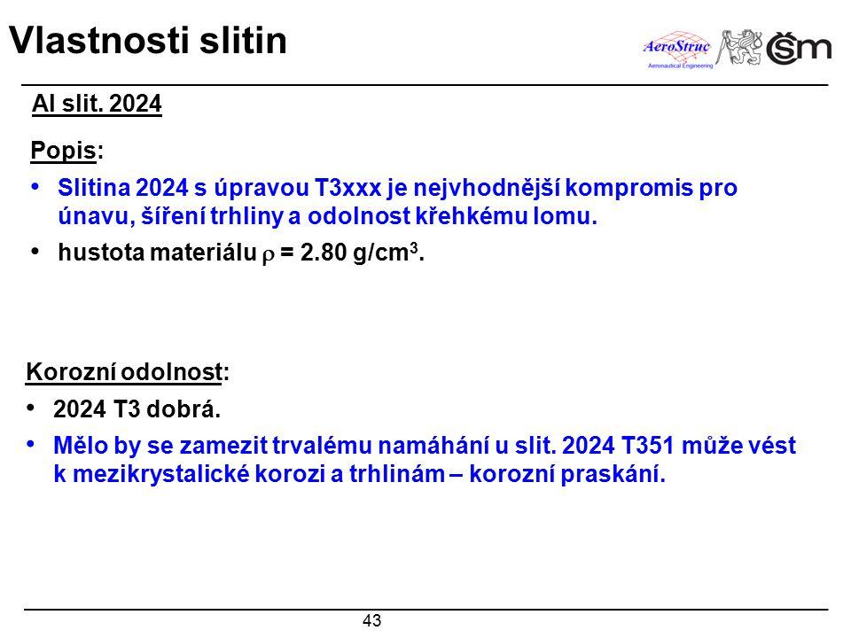 Vlastnosti slitin Al slit. 2024 Popis:
