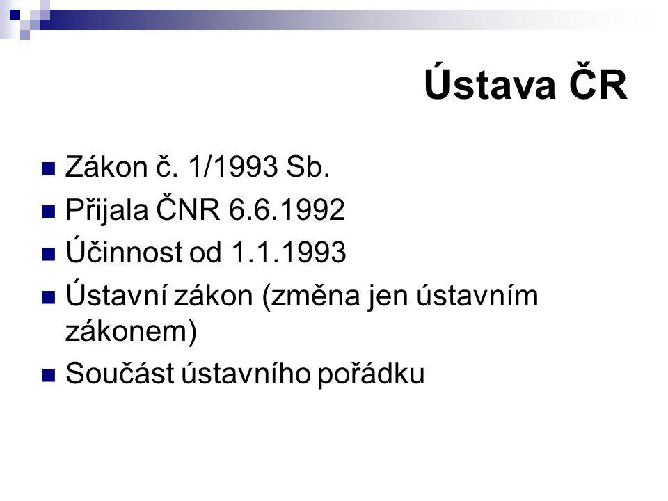 Ústava ČR Zákon č. 1/1993 Sb. Přijala ČNR 6.6.1992