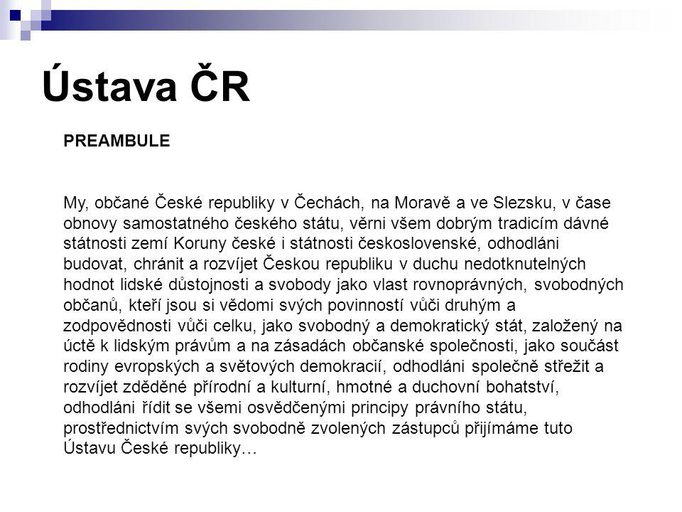 Ústava ČR PREAMBULE.