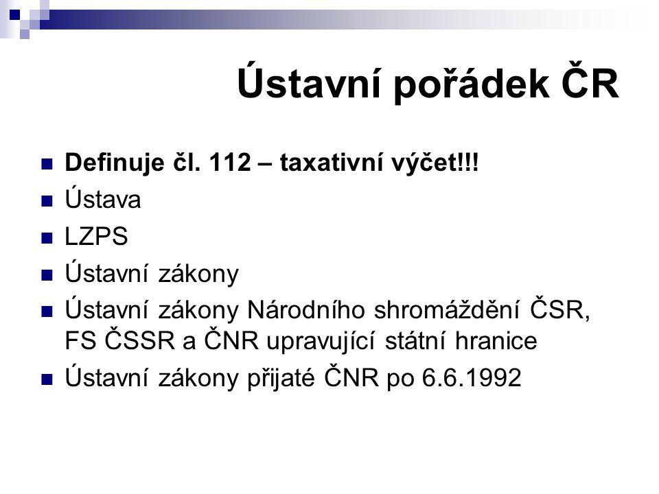 Ústavní pořádek ČR Definuje čl. 112 – taxativní výčet!!! Ústava LZPS