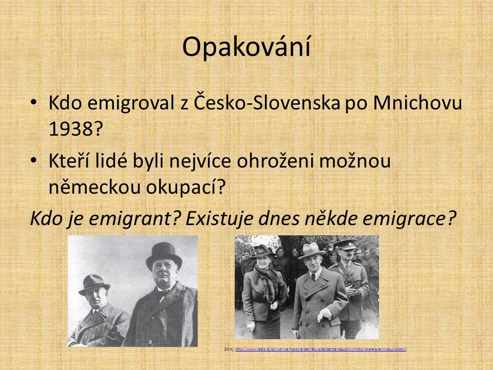 Opakování Kdo emigroval z Česko-Slovenska po Mnichovu 1938