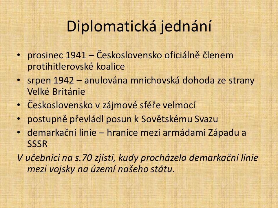 Diplomatická jednání prosinec 1941 – Československo oficiálně členem protihitlerovské koalice.