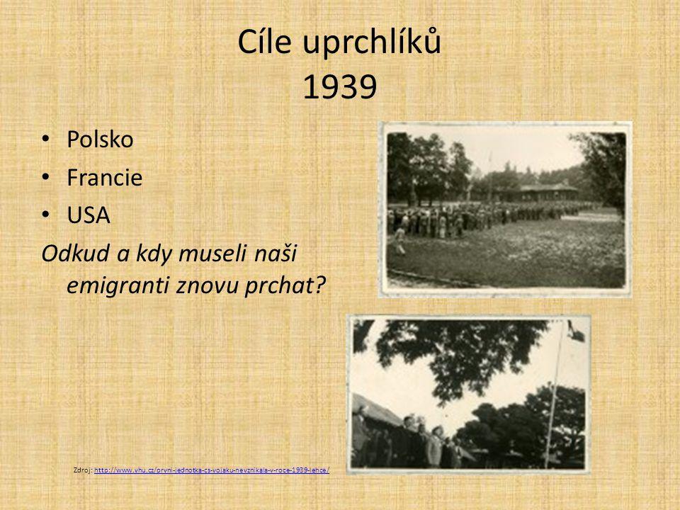 Cíle uprchlíků 1939 Polsko Francie USA