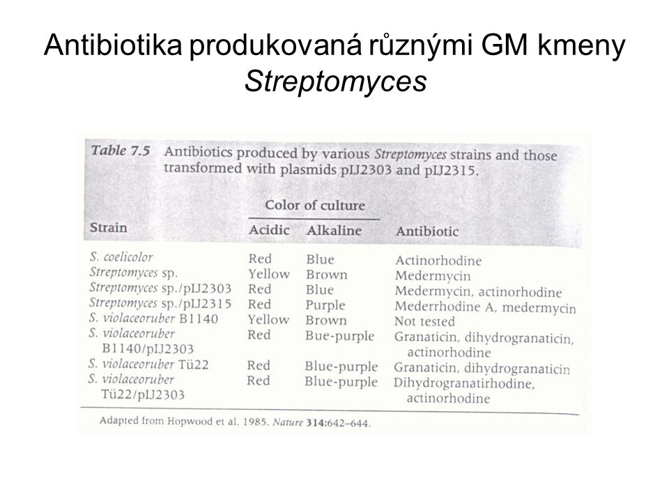 Antibiotika produkovaná různými GM kmeny Streptomyces