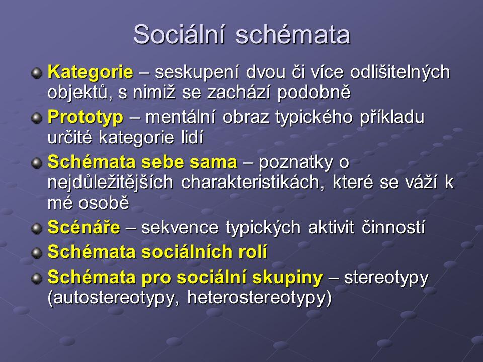 Sociální schémata Kategorie – seskupení dvou či více odlišitelných objektů, s nimiž se zachází podobně.
