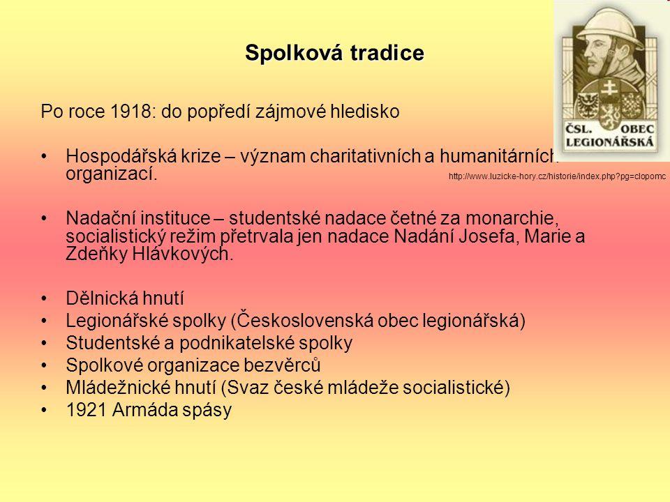 Spolková tradice Po roce 1918: do popředí zájmové hledisko