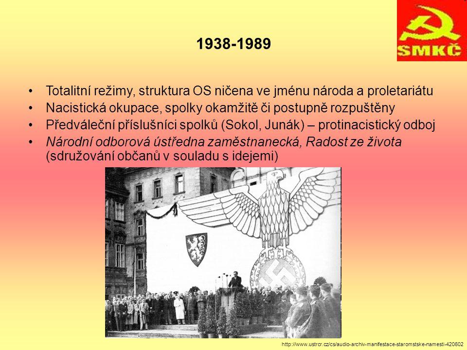 1938-1989 Totalitní režimy, struktura OS ničena ve jménu národa a proletariátu. Nacistická okupace, spolky okamžitě či postupně rozpuštěny.