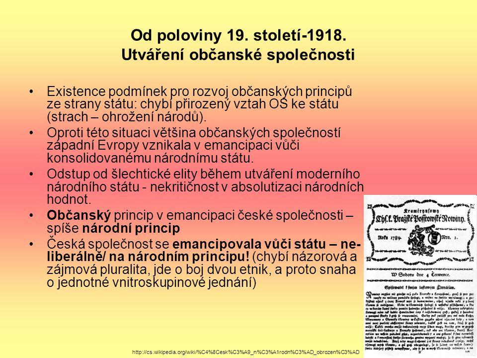 Od poloviny 19. století-1918. Utváření občanské společnosti