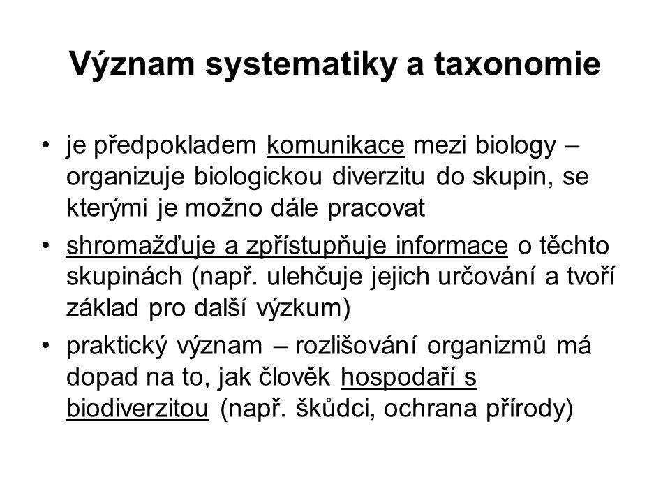 Význam systematiky a taxonomie