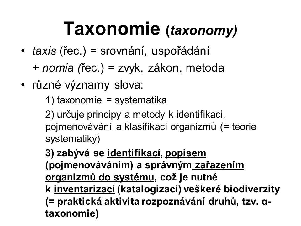 Taxonomie (taxonomy) taxis (řec.) = srovnání, uspořádání