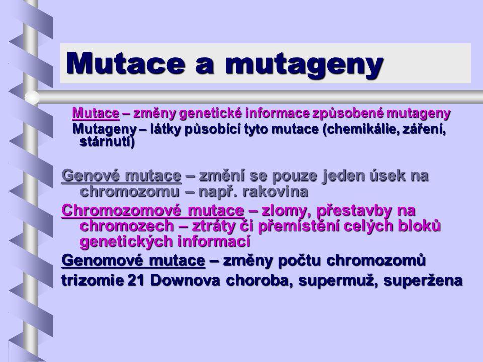 Mutace a mutageny Mutace – změny genetické informace způsobené mutageny. Mutageny – látky působící tyto mutace (chemikálie, záření, stárnutí)