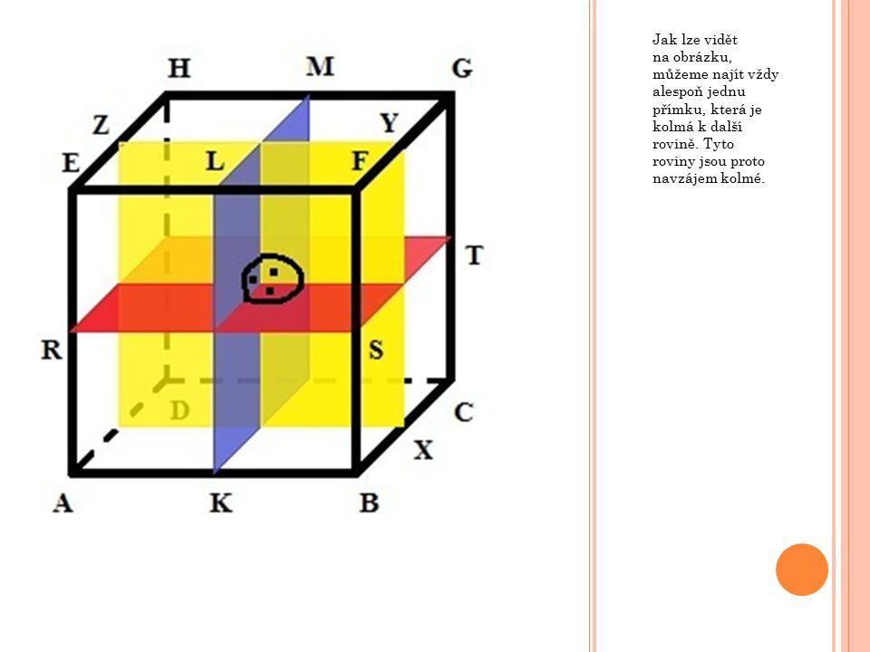 Jak lze vidět na obrázku, můžeme najít vždy alespoň jednu přímku, která je kolmá k další rovině.
