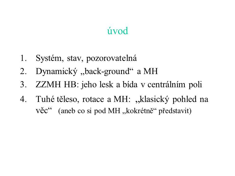 """úvod Systém, stav, pozorovatelná Dynamický """"back-ground a MH"""