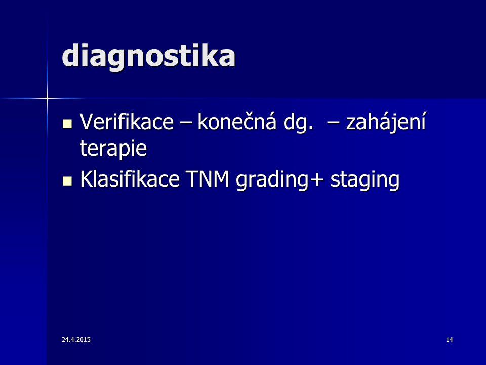 diagnostika Verifikace – konečná dg. – zahájení terapie