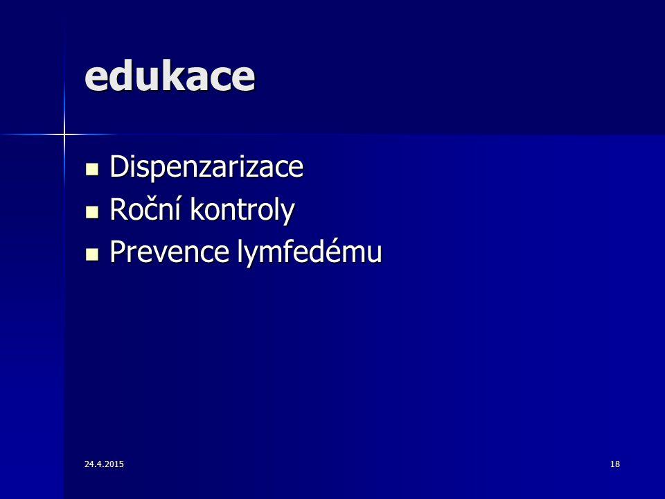 edukace Dispenzarizace Roční kontroly Prevence lymfedému 14.4.2017