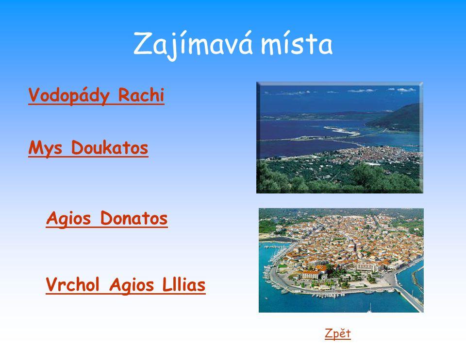 Zajímavá místa Vodopády Rachi Mys Doukatos Agios Donatos