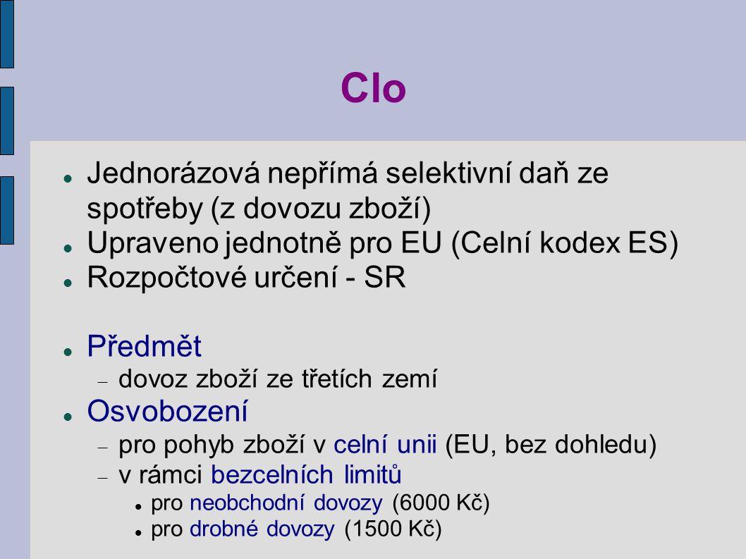 Clo Jednorázová nepřímá selektivní daň ze spotřeby (z dovozu zboží)