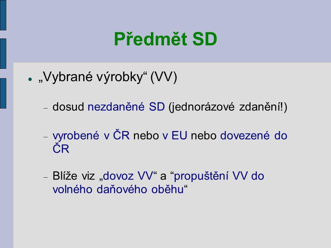 """Předmět SD """"Vybrané výrobky (VV)"""