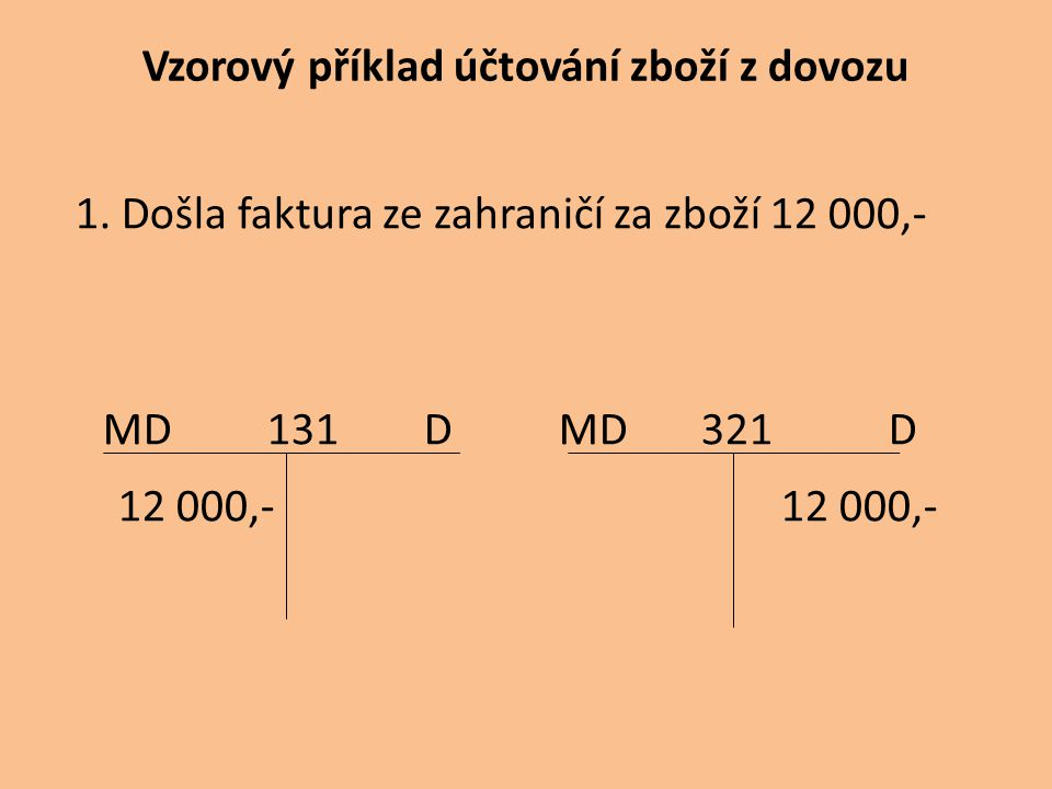 Vzorový příklad účtování zboží z dovozu