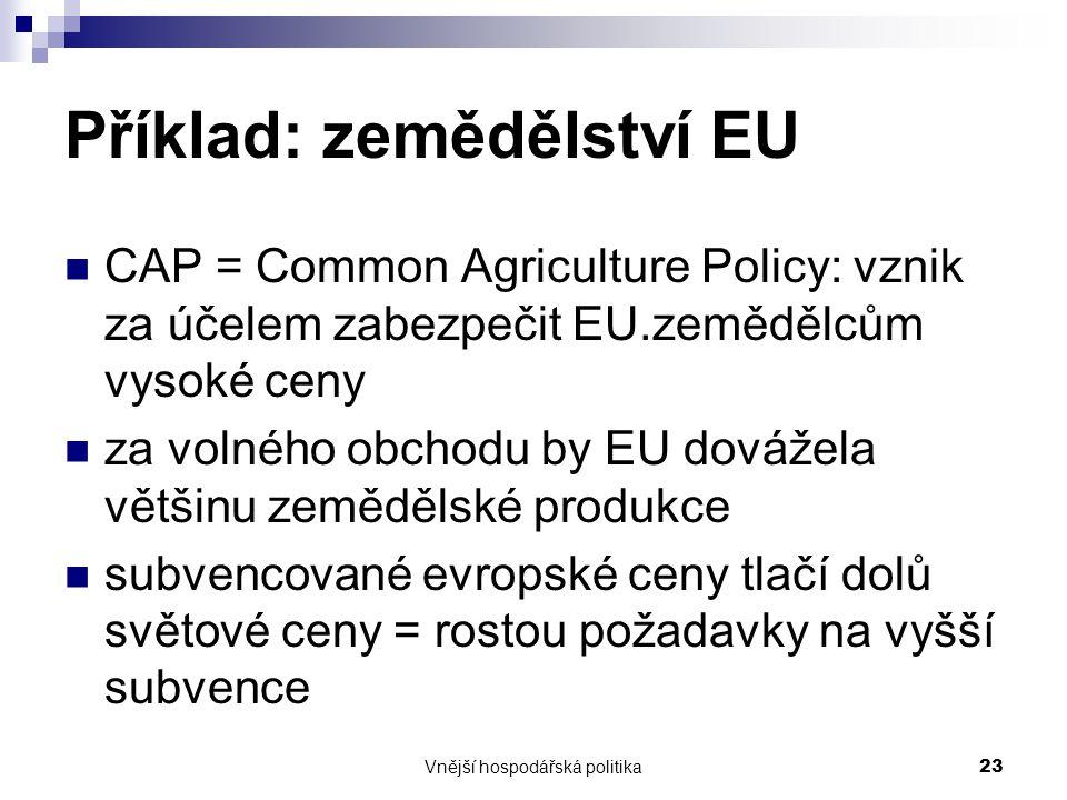 Příklad: zemědělství EU