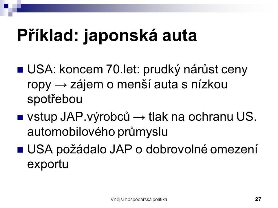 Příklad: japonská auta