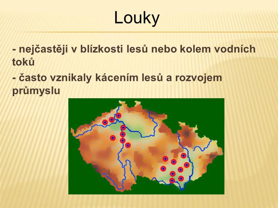 Louky - nejčastěji v blízkosti lesů nebo kolem vodních toků
