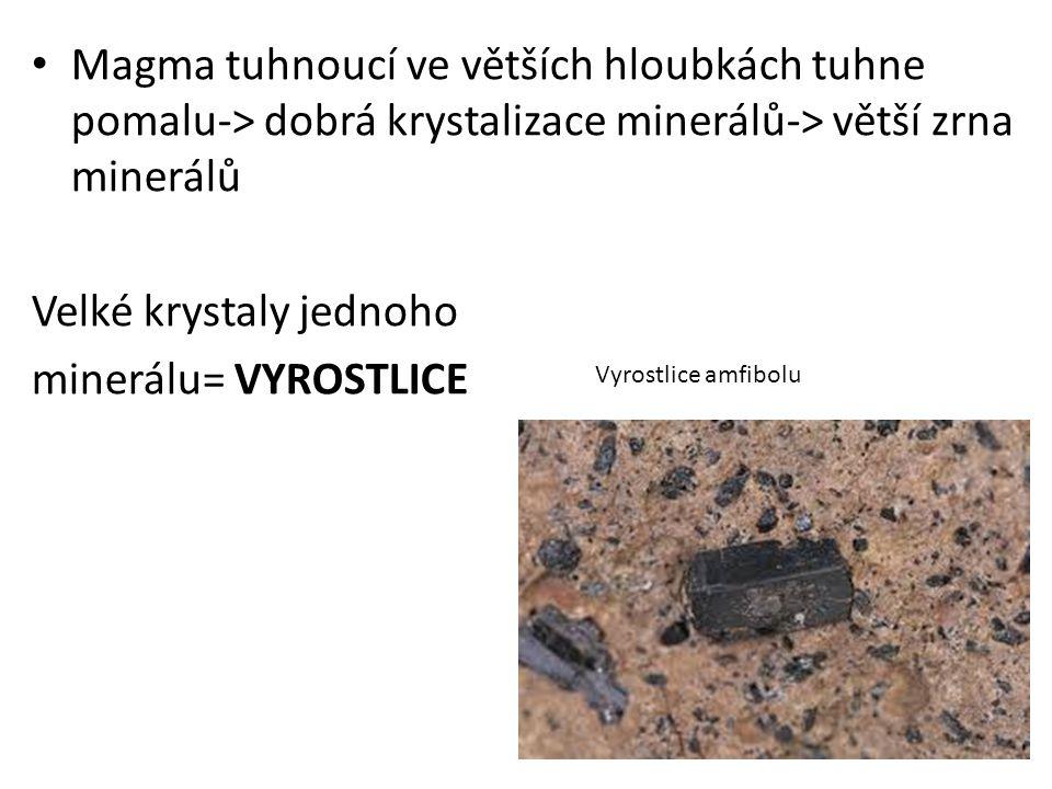 Velké krystaly jednoho minerálu= VYROSTLICE