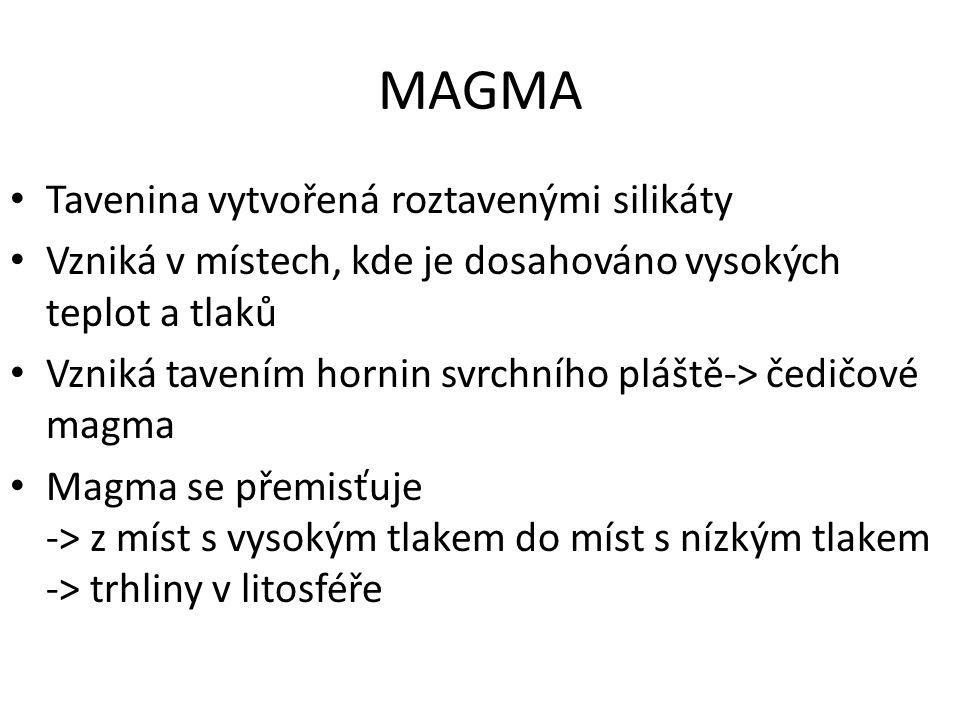 MAGMA Tavenina vytvořená roztavenými silikáty