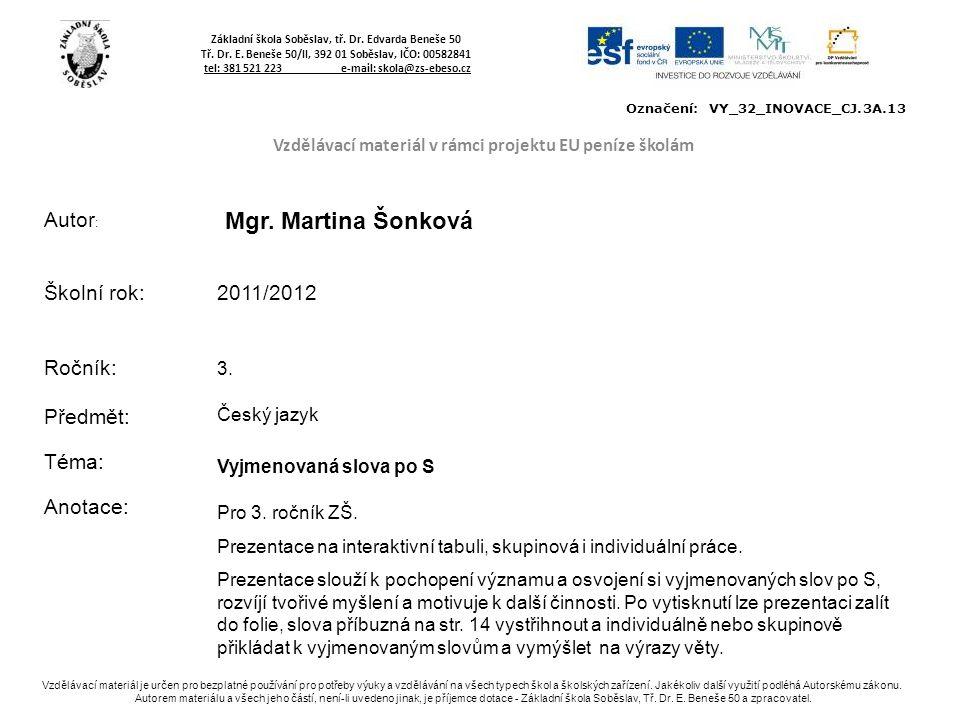 Vzdělávací materiál v rámci projektu EU peníze školám