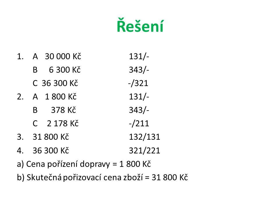 Řešení A 30 000 Kč 131/- B 6 300 Kč 343/- C 36 300 Kč -/321