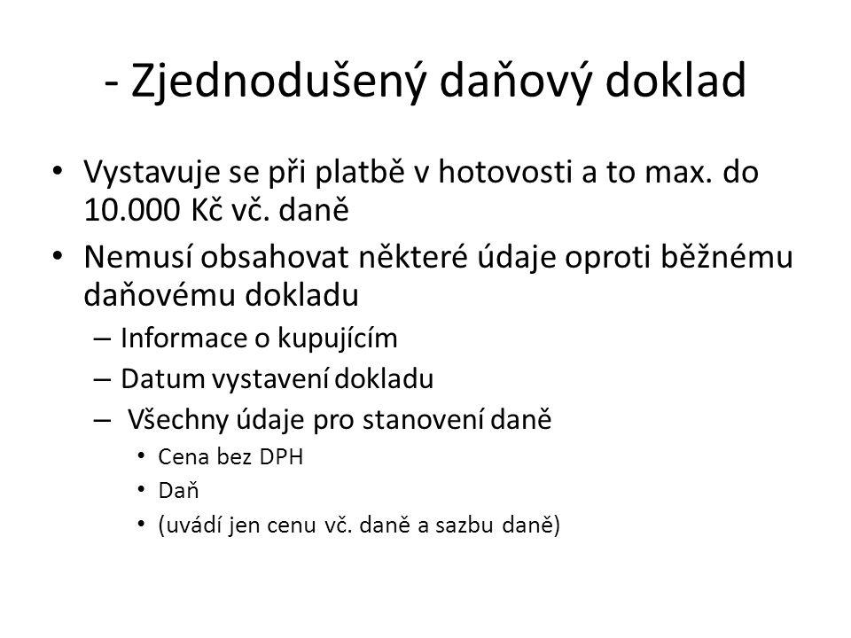 - Zjednodušený daňový doklad