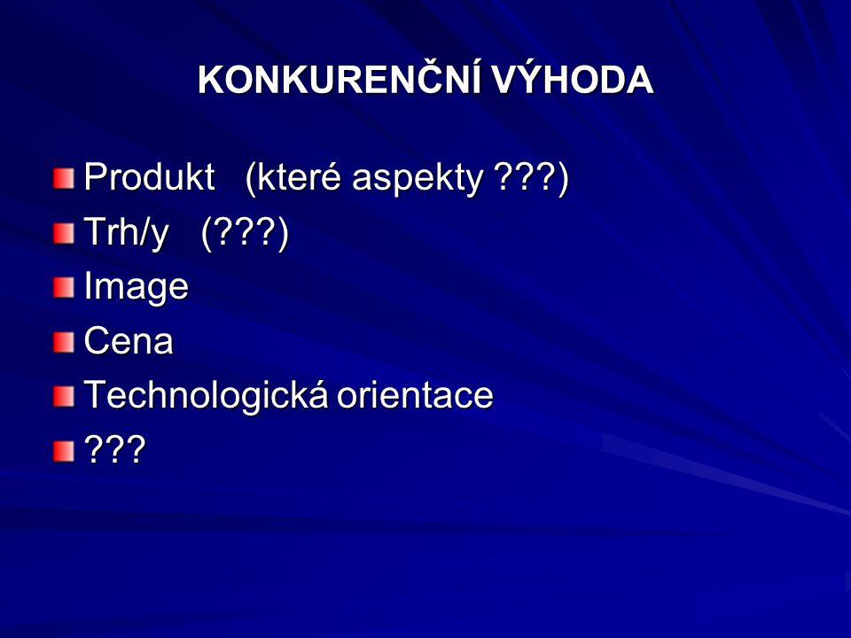 KONKURENČNÍ VÝHODA Produkt (které aspekty ) Trh/y ( ) Image. Cena. Technologická orientace.