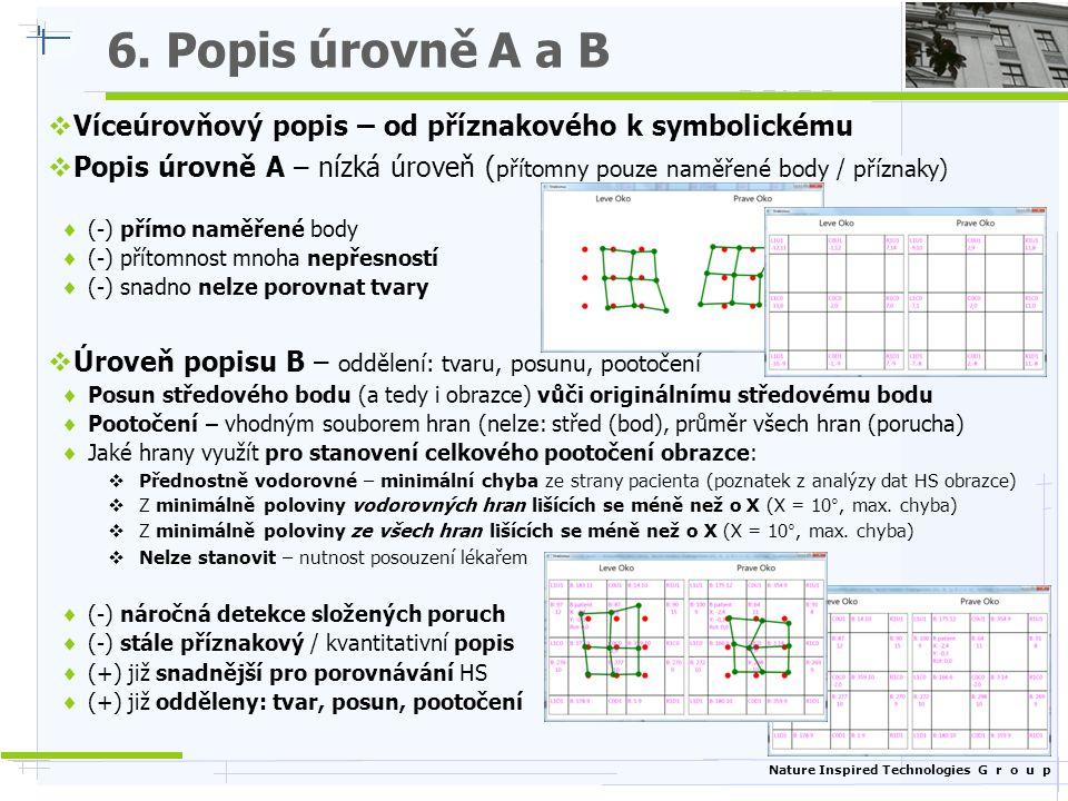 6. Popis úrovně A a B Víceúrovňový popis – od příznakového k symbolickému. Popis úrovně A – nízká úroveň (přítomny pouze naměřené body / příznaky)
