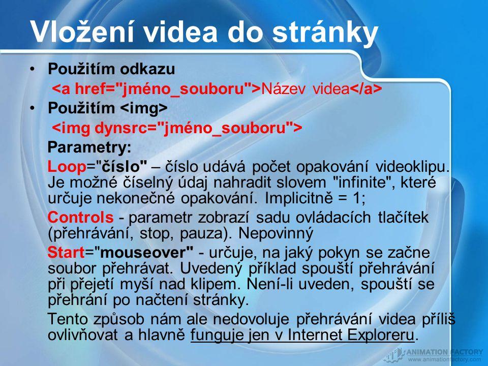 Vložení videa do stránky