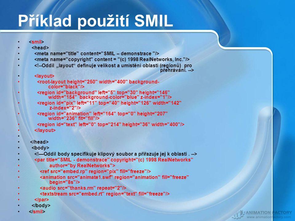 Příklad použití SMIL <smil> <head>