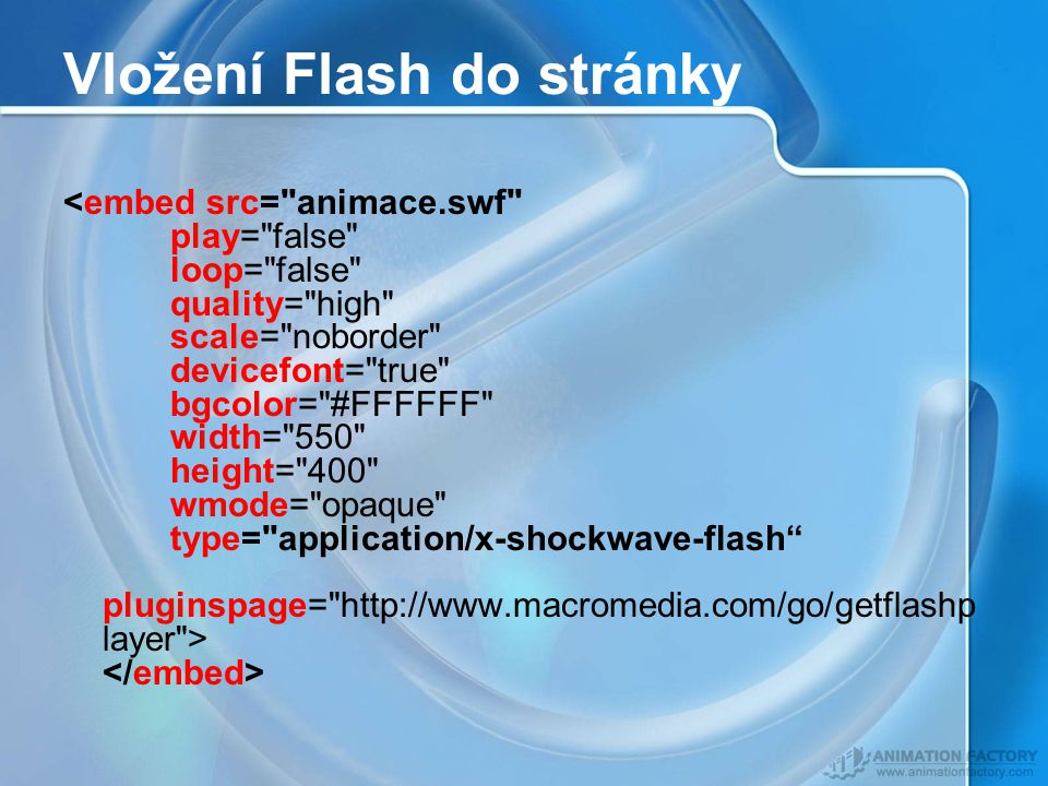 Vložení Flash do stránky
