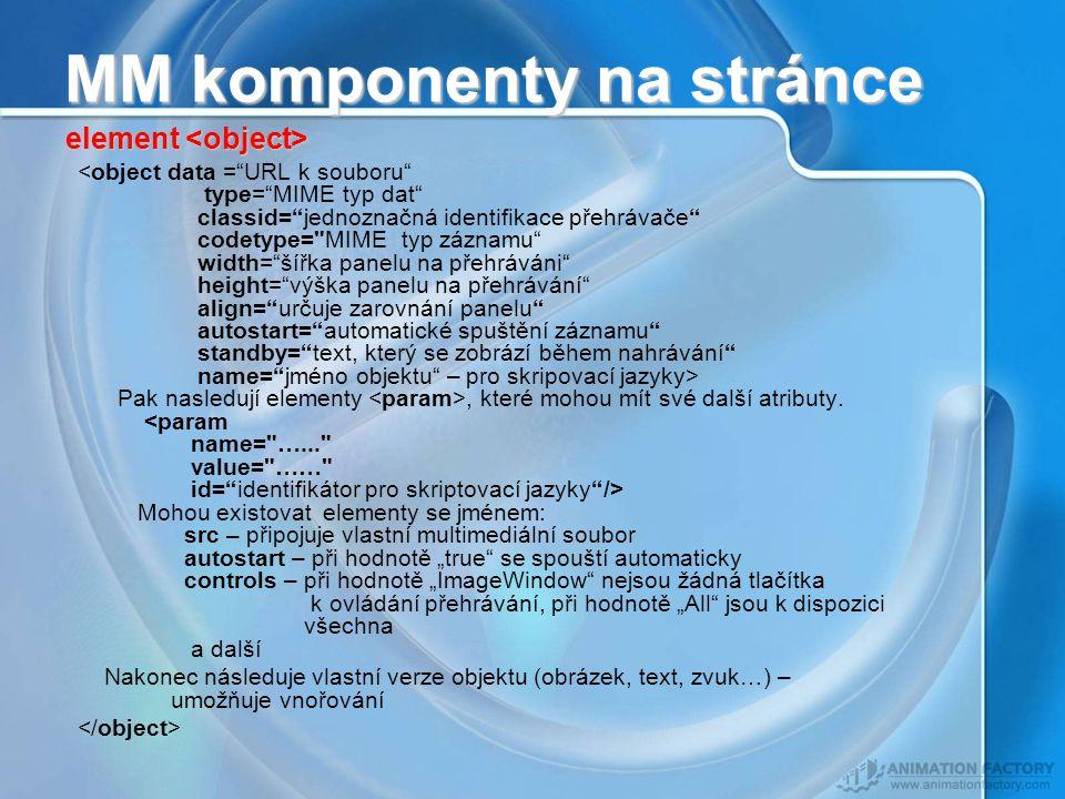 MM komponenty na stránce