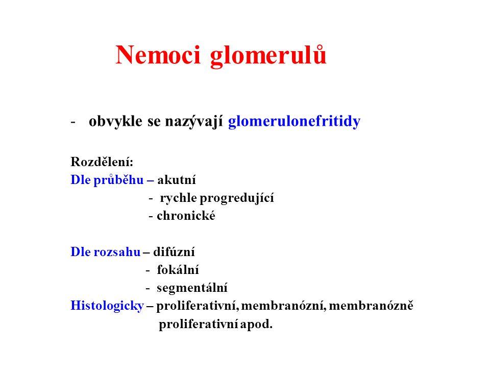 Nemoci glomerulů obvykle se nazývají glomerulonefritidy Rozdělení: