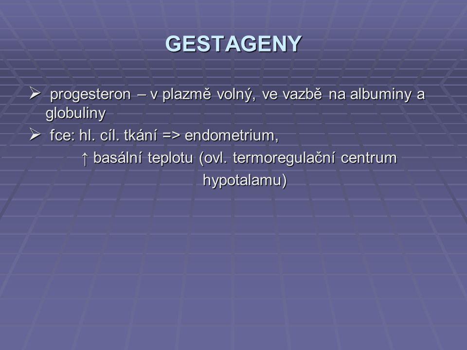 GESTAGENY progesteron – v plazmě volný, ve vazbě na albuminy a globuliny. fce: hl. cíl. tkání => endometrium,