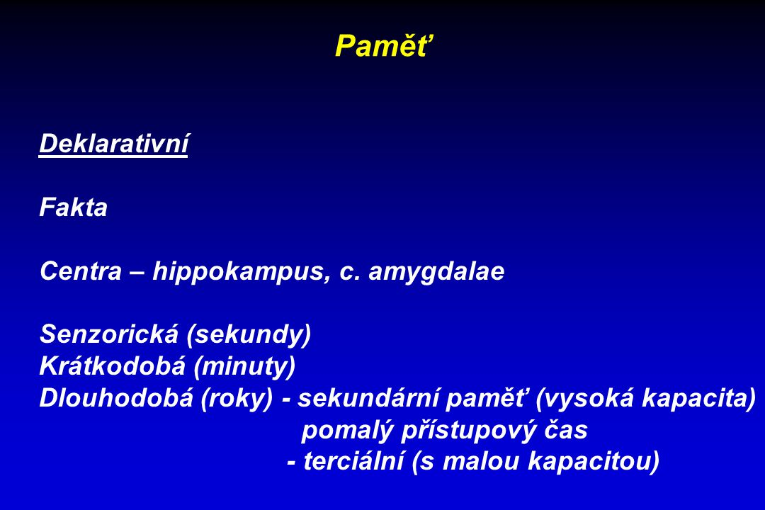 Paměť Deklarativní Fakta Centra – hippokampus, c. amygdalae